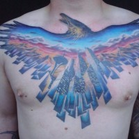 Seattle theme patriotic tattoo on chest by viptattoo