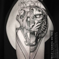 Separated black ink shoulder tattoo of animal skull with tigers head