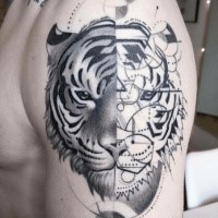 Separated black ink shoulder tattoo of tiger head with geometrical figures