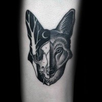 Separated black ink tattoo of animal skull with fox head
