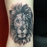 Separated black ink tattoo of lion face
