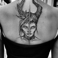 Separated black ink upper back tattoo by Inez Janiak of demonic women