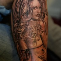e48bc47ed Sexy pin up girl with a pistol and tattoo by Jose Lopez