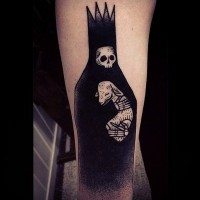 Sharp designed big black Death with little goat tattoo on arm