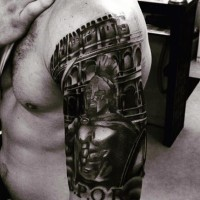 Shoulder placed black and white tattoo of Spartan warrior and Rome arena