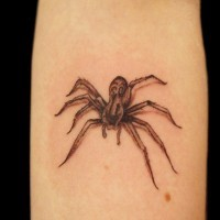 Simple 3D like homemade spider tattoo on arm