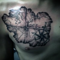 Simple black and white nautical map tattoo on chest