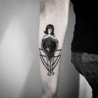 Simple black ink arm tattoo of woman with ornaments