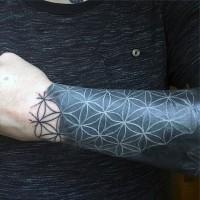 Simple black ink flowers ornament tattoo on wrist