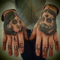 Simple black ink hands tattoo of humans portraits