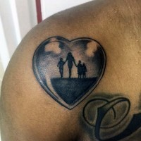 Simple black ink heart stylized with family tattoo on shoulder