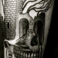 Simple black ink leg tattoo of skull stylized with castle and tree