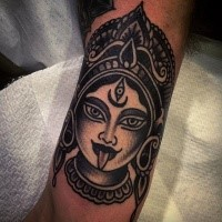 Simple blackwork style tattoo of Hinduism Goddess