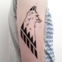 Simple colored arm tattoo of fox