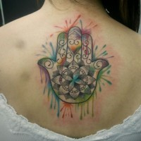 Simple designed and colored upper back tattoo of Hamsa hand