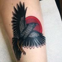 semplice disegno colorato corvo con cole tatuaggio su gamba