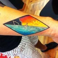 semplice disegno colorato oceano con piccola barca tatuaggio su polso