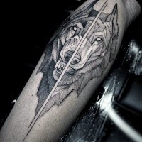 Simple engraving style detailed tattoo of fantasy wolf