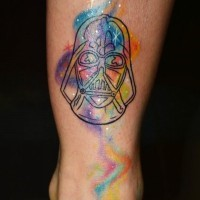Simple homemade black ink Vader pattern tattoo on ankle stylized with space multicolored fog
