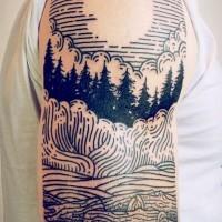 semplice fatto a casa inchiostro nero foreste notturno con luna tatuaggio su spalla