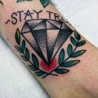 Simple homemade like colored diamond with lettering tattoo on ankle