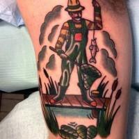 semplice fatto a mano colorato pescatore con pesce tatuaggio su braccio