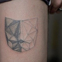 Simple homemade like dot style tattoo of cat shaped figure