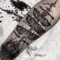 Simple homemade style arm tattoo of large sailing ship