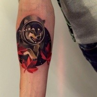 Simple illustrative style forearm tattoo of wolf astronaut