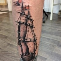 Simple illustrative style leg tattoo of big ship