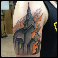 Simple illustrative style shoulder tattoo of burning church