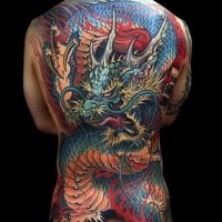 Simple illustrative style whole back tattoo of big dragon