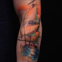 Simple image style arm tattoo of gorgeous sailing ship