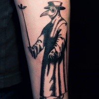 Simple linework style forearm tattoo of plague doctor