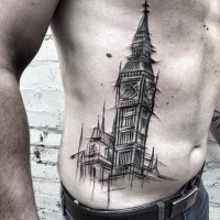 Simple linework style side tattoo of big clock  by Inez Janiak