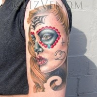 Simple Mexican style colored crying woman tattoo on shoulder