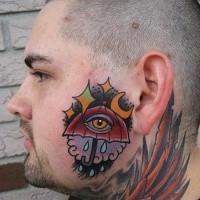 Simple mystical looking head tattoo of big umbrella and eye