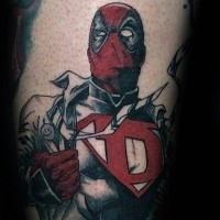 Simple old cartoon style tattoo of heroic Deadpool