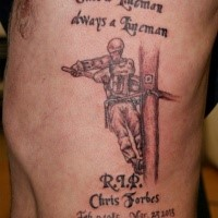 Simple old school style colored side tattoo of lineman with lettering