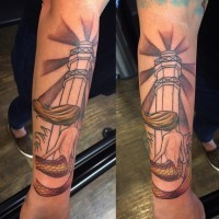 Simple painted and colored forearm tattoo of mermaid with big lighthouse