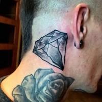 Simple painted black ink diamond tattoo on neck