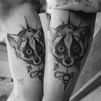 Simple sketch like raccoon tattoo by Inez Janiak