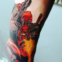 Simple usual looking colored tattoo of Deadpool with pistols