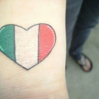 Simply heart with colors of italy tattoo