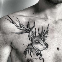 Siple painted by Inez Janiak in linework style chest tattoo of deer