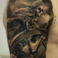 Skeleton pirate tattoo on shoulder