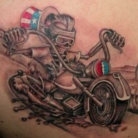 Skeleton racer usa on a motorcycle tattoo