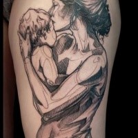 Sketch style black and white thigh tattoo of mother and baby