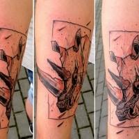 Sketch style black colored rhino head tattoo on forearm