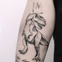 Sketch style black ink arm tattoo of dinosaur with crown
